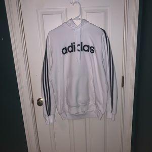 White Adidas Sweatshirt w/ black stripes
